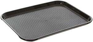 Fast Food Tray 10 x 14, Black Rectangular Polypropylene Serving Tray for Cafeteria, Diner, Restaurant, Food Courts