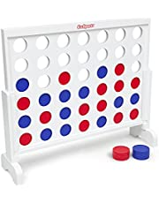 GoSports Giant Wooden 4 in a Row Game   Choose Between Classic White or Dark Stain   3 Foot Width - Jumbo 4 Connect Family Fun with Coins, Case and Rules