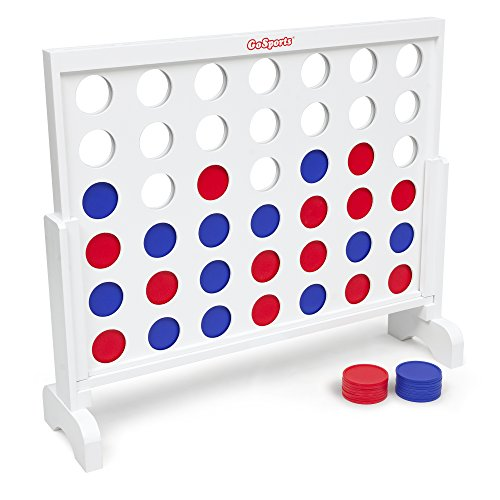 GoSports Giant Wooden 4 in a Row Game - 3 foot Width - With Coins, Portable Case and - Solid Wood Stained