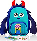 Epic Kids Backpack Blue Monster boy with Pixel Art Front Pocket – DIY 2 in 1 Elementary School bag and toy that Can Be Used for Preschool, Kindergarten, Afterschool, Weekend Trips and Family Picnics