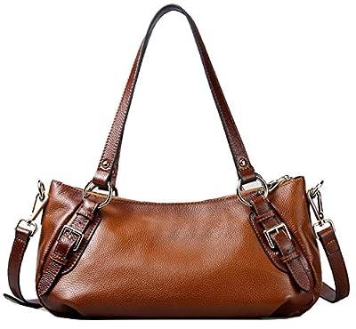 Heshe Ol Fashion Vintage Cowhide Genuine Leather Vintage Shoulder Bag Top-handle Tote Luggage Cross Body Handbag Hot Sell for Summer