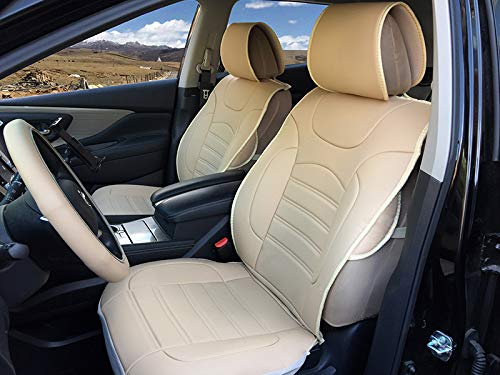 Durable Leather Like Vinyl Seat Cushion Covers for Ford F150 2009-2014 (Tan)