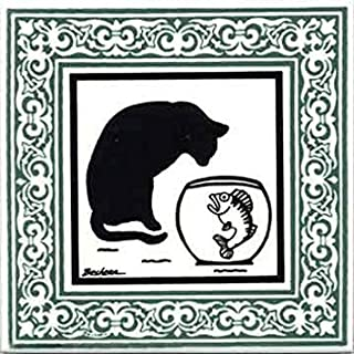 product image for CAT Tile - CAT Wall Plaque - CAT TRIVETS with Jade Victorian Border: CA-7J