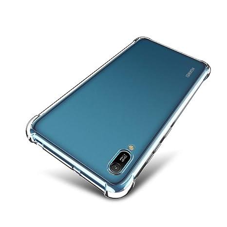 SLEO Funda para Huawei Y6 Pro 2019/Y6 2019 Carcasa Silicona TPU [Crystal Clear] Suave Ultra Delgada Case Bumper con Esquinas Reforzadas Antideslizante ...