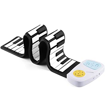 Rock and Roll it 49 Teclas Teclado Enrollable Piano Midi Flexible Portátil Electrónico Digital Piano Completamente portátil (Color : Blanco): Amazon.es: ...