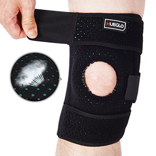 Hueglo Neoprene Knee Brace Support Sleeve, Open Patella Protector Wrap,Adjustable Knee Pads Protector For Arthritis, ACL, Running, Basketball, Meniscus Tear, Sports, Athletic, Black
