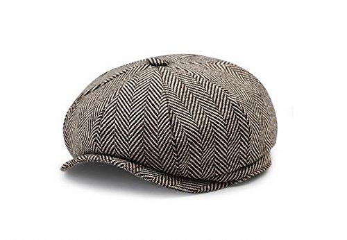 Adult Newsboy Hat (Men's Women's Classic Herringbone Tweed Wool Blend Newsboy Ivy Hat)