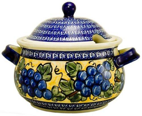 Euroquest Imports Bunzlauer Polish Pottery 3-Quart Terrine with Lid in Grape Vine Pattern 1004-DU8