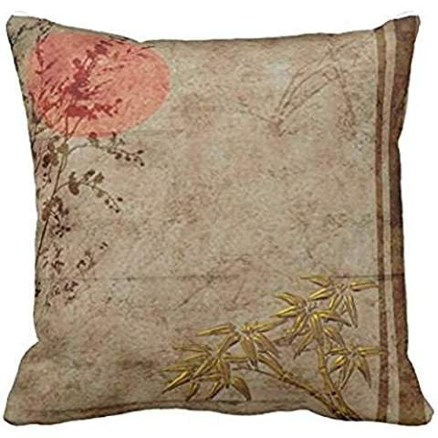 pillow case 2424s Asian Rustic Gold Red Bamboo Blossom (Raglan Bamboo)