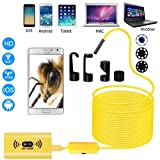 WiFi USB Endoscope HD 1200P Wifi Camera 8mm Waterproof Antscope Snake Pipe Tube Camera for Android iOS (Yellow, 32.8 feet)