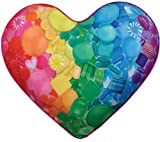 iscream Rainbow Hard Candy Heart Shaped 16.5'' x 14'' Fleece Back Microbead Pillow