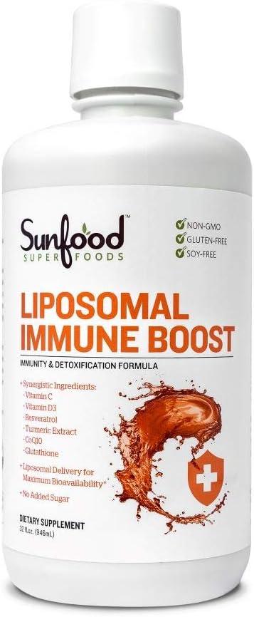 Sunfood Superfoods Liposomal Immune Boost Liquid Supplement. Synergistic Ingredients. Liposomal Delivery for Maximum Bioavailability. VIT C, D3, Resveratrol, Tumeric, CoQ10, Glutathione. 32 oz Bottle