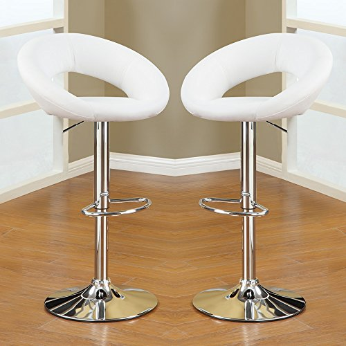 1PerfectChoice 2 pcs Adjustable Swivel Solar Ring Barstools Bar Pub Stool Footrest White PU by 1PerfectChoice