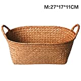 Hand-Woven Fruit Basket, Seagrass Decorative Retro Fruit Display Storage Belly Basket for Laundry, Picnic, Plant Pot Cover, Beach Bag