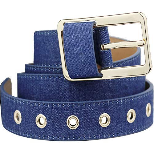 Bee Denim Belts Square Buckle Waist Belts for Jeans Pants Women Casual Clothing Accessories (Belts 03-Gold)