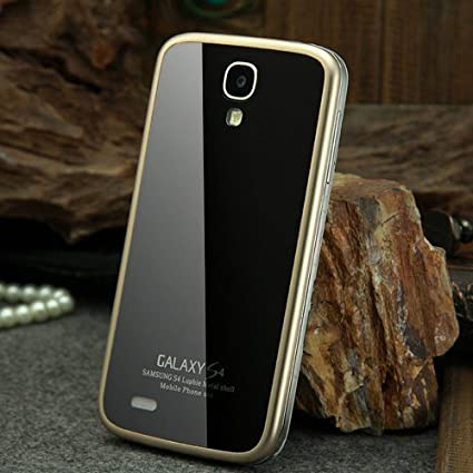 separation shoes 45d7f c6191 Tempered glass Back Cover Metal Bumper Case for Samsung Galaxy S4 ...