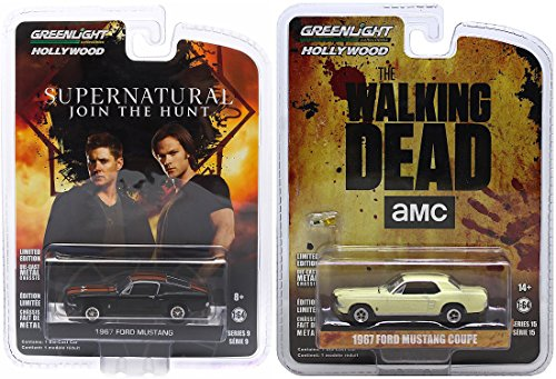 The Walking Dead Series TV Show 1967 Ford Mustang Coupe & Supernatural 1967 Ford Mustang 2-Pack Bundle Set