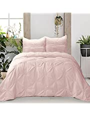 KI&KA HOME Floral Ruched Comforter Set Pinch Pleat Bedding Comforter Sets, 3-Piece Flower Pintuck Bedding Sets & Collections with Pillow Shams for All Seasons