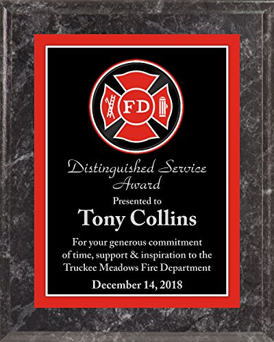 Engraved Fire Department Award Plaque, Free Engraving (Black Marble)