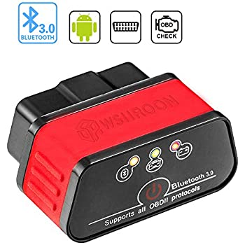 wsiiroon Bluetooth OBD2 Scanner OBD 2 OBDII Car Diagnostic Scan Tool Auto OBD Scanner Code Reader for Android and Windows, Supports Torque App