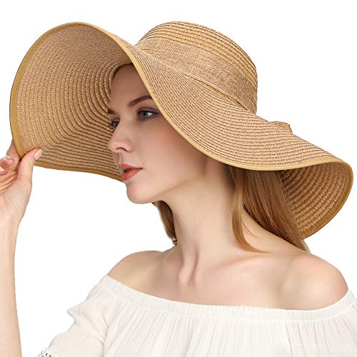 Roniky Womens Wide Brim Bowknot Beach Hat Floppy Foldable Straw Sun Hat UPF 50+ ()