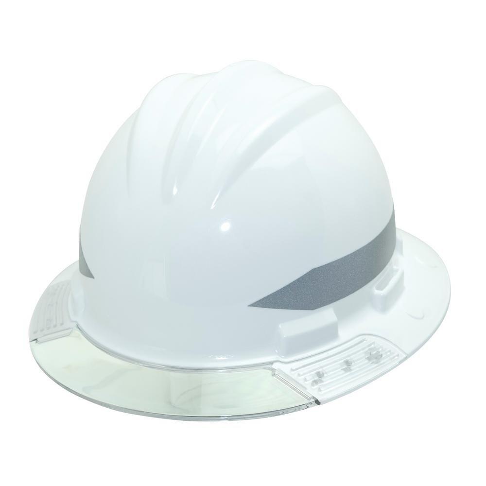 Bullard AVWHBG  Above View Hard Hat,  White, Vinyl Brow Pad, Ratchet Suspension, Grey Visor, One Size