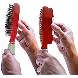 Qwik Clean Self Cleaning Hair Brush - Easy Clean Detangle Brush or Comb - Retractable Brush Detangler for Wet or Dry Hair - Adults & Kids - by Qwik Clean - (Red)