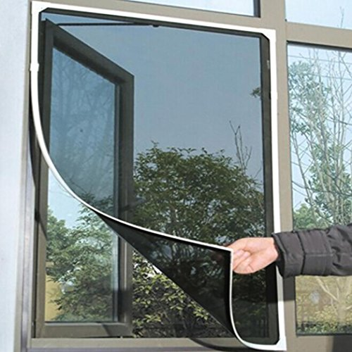 Netting Mesh Curtain Window Mesh Mosquito Net Insect Bug Fly Block Mesh Net Curtain with Adhesive (black) ()