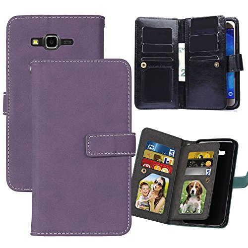 Galaxy J7 Case, Ranyi [Matte Leather Wallet] [9 Card Slots] [2 Photo Slot] Luxury Hand-stitching Dual Layer Matte Leather Flip Wallet Case for Samsung Galaxy J7 (2015 Version only), purple ()