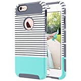 iPhone 6s Case, iPhone 6 Case, ULAK Hybrid Slim Case With Hard PC and Inner Rubber Cover for Apple iPhone 6S 4.7 Inch & iPhone 6 4.7 Inch Device (Grey/Minimal Mint Stripes)