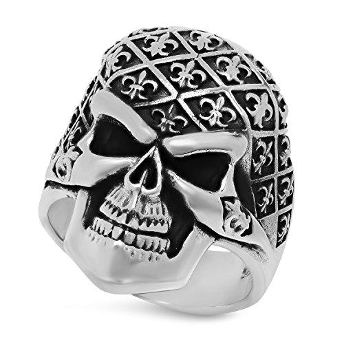 Oxidized 925 Sterling Silver Skull w/Fleur-de-Lis Pattern Ring, Size 13 + Jewelry Polishing Cloth