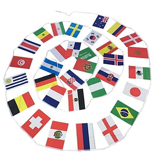 Banderines de la Copa del Mundo Flyglobal - FIFA Fútbol Mundial Copa 2018 Top 32 naciones pequeñas banderines de tela 9 m con 32 banderas: Amazon.es: ...