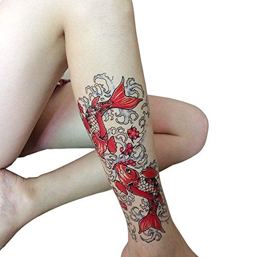 TAFLY Koi Fish Temporary Tattoos Red Large 6 x 9.1 Inches Colorful Transfer Tattoo Stickers for Men & Women 2 Sheets Koi Tattoo