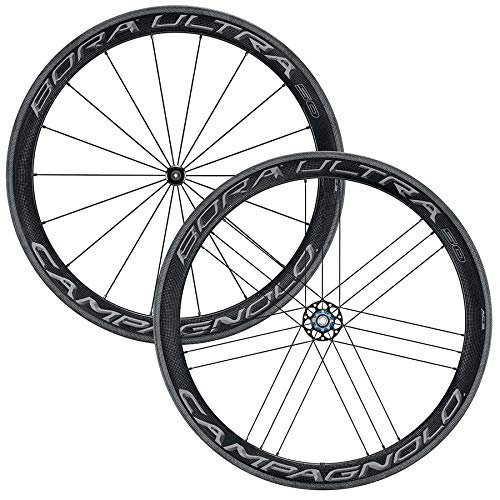 Campagnolo Bora Ultra 50 Dark Tubular Bicycle Wheel Set - 700C, F: 18, R: 21 spokes, QR, F: 100, R: 130, Campagnolo - WH18-BOTFRDK