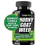 LabsMen 2-in-1 Horny Goat Weed Extract with Epimedium (13mg Icariin), Maca, Tribulus Terrestris, L Arginine & Ginseng - Testosterone Booster for Men | Enhance Stamina, Performance & Libido