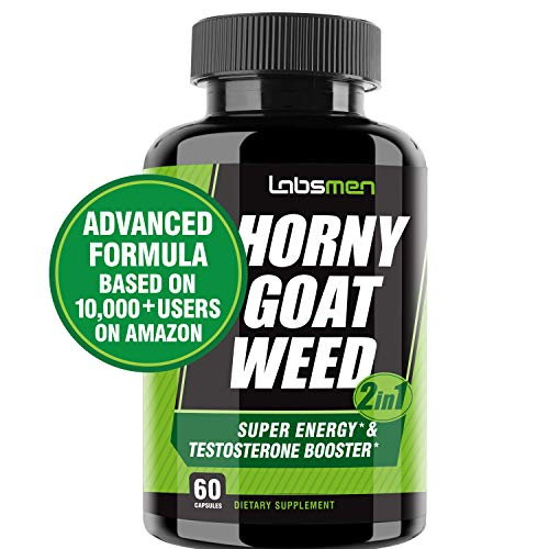 LabsMen 2-in-1 Horny Goat Weed Extract with Epimedium (13mg Icariin), Maca, Tribulus Terrestris, L Arginine & Ginseng - Testosterone Booster for Men | Enhance Stamina, Performance & Libido