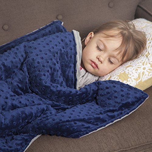 "Roore 5 lb Children's (for 50lb individual) 36""x48"" Navy Blue and Gray Weighted Blanket with Dotted Minkey Cover. Fall Asleep Faster Perfect for kids with Anxiety OCD Stress ADHD Autism"