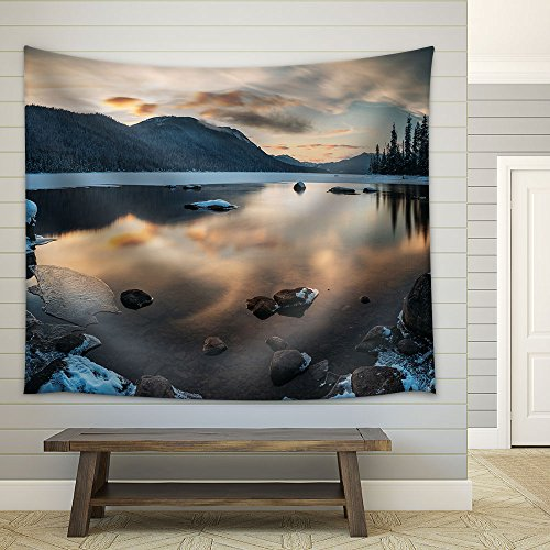 Winter Landscape with Lake and Mountain Fabric Wall