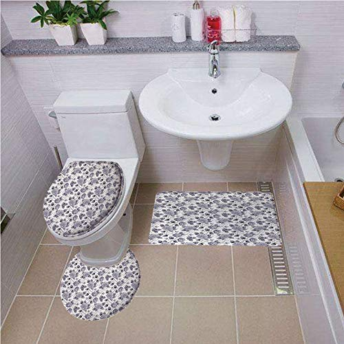 Bath mat Set Round-Shaped Toilet Mat Area Rug Toilet Lid Covers 3PCS,Grey,Floral Patterns Victorian Inspired Roses with Dark Flowers in Monochrome Graphic Print Decorative,Gray White,Elongated Toilet
