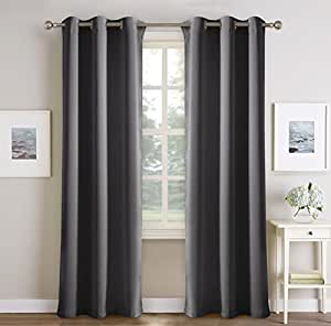 PONY DANCE Gray Blackout Curtains for Living Room Solid Thermal Insulated Blackout Curtain Panels Light Blocking Draperies for Window Treatments Decor, 42 wide by 72 inch long, Grey Color, 2 Panels