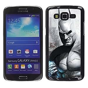 ROKK CASES / Samsung Galaxy Grand 2 SM-G7102 SM-G7105 / B&W DARK BAT SUPERHERO / Delgado Negro Plástico caso cubierta Shell Armor Funda Case Cover