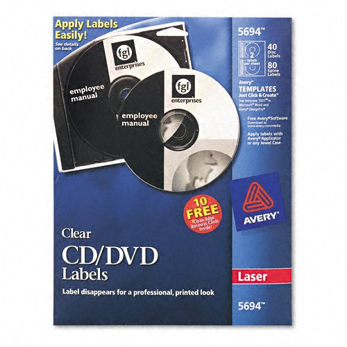 Avery : CD/DVD Glossy Label for Laser Printers, Clear, 40/pack -:- Sold as 2 Packs of - 40 - / - Total of 80 (Clear Laser Cd Label)