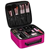 SONGMICS Makeup Train Case with Adjustable Dividers Cosmetic Bag Organizer Travel Kit Artist Case with Brush Holders Rose UMUC23PK