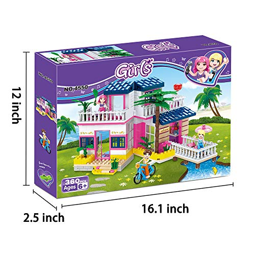 BRICK STORY Girls Building Sets Friends House Seaside Villa Building Blocks Toys Beach Hut Building Kit for Kids Aged 6 and up (360 PCS)