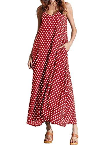 Point Plus Wave V Dress Coolred Neck Size Red Women Long Trim Sling Pocket BaWXp4