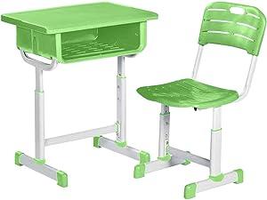 Kids Desk and Chair Set 26'' Children Study Table Height Adjustable Kids Studing Reading Desk Ergonomic Design School Students Writing Workstation Desktop Storage Drawer Bookstand for Boys & Girls