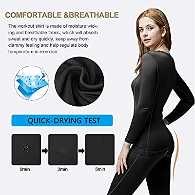 MeetHoo Thermal Underwear for Women, Winter Warm Base Layer Compression Set, Fleece Lined Long Johns Running Skiing at Women's Clothing store