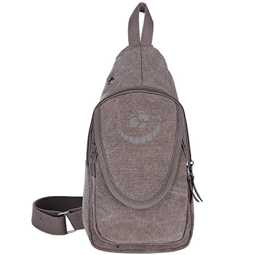 Alice In Wonderland King Of Hearts (Cheshire Cat Pumpkin Carving Casual Canvas Unbalance Backpack Sling Bag Men Shoulder Bag Chest Bag)