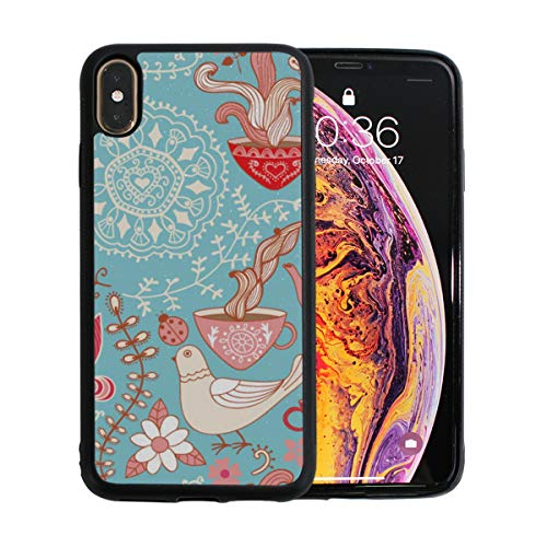 Teapots Cups and Flowers Apple Phone Xs Max Case Screen Protector TPU Hard Cover with Thin Shockproof Bumper Protective Case for Apple Phone Xs Max 6.5 Inch