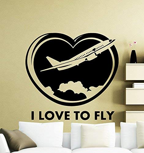 to Fly Airplane Wall Decal Plane Airport Air Bus Aircraft Clouds Earth Vinyl Vinyl Sticker Wall Art Home Nursery Kids Boy Girl Room Interior Art Decoration Mural ()
